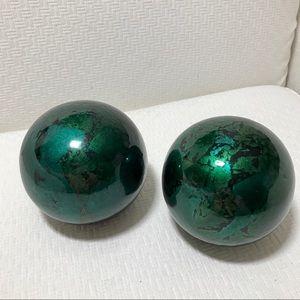 Decorative Balls Spheres Green Glossy Set of 2